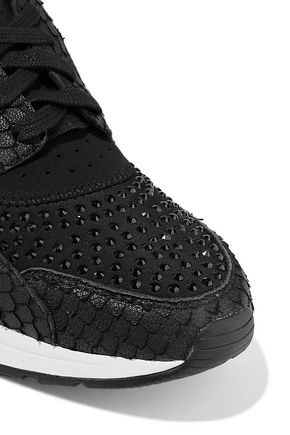 ASH Mood crystal-embellished snake-effect leather and neoprene sneakers