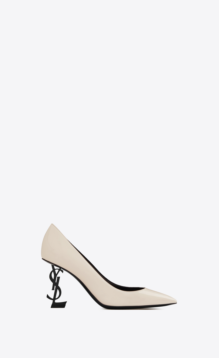 Saint Laurent Opyum Pumps With Black Heel In Patent Leather In Latte