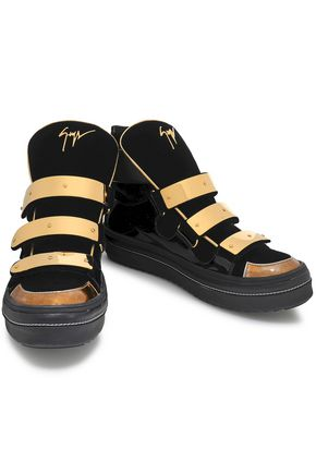 GIUSEPPE ZANOTTI Ace patent-leather and velvet high-top sneakers