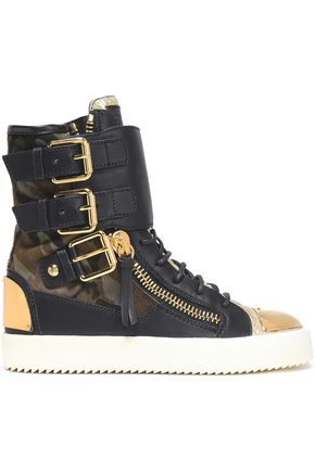 GIUSEPPE ZANOTTI Printed-paneled leather high-top sneakers