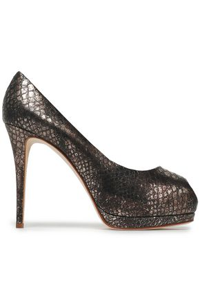GIUSEPPE ZANOTTI Snake-effect leather pumps