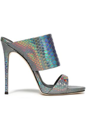 GIUSEPPE ZANOTTI Iridescent snake-effect leather mules