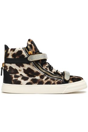 GIUSEPPE ZANOTTI Embellished leopard-print calf hair high-top sneakers