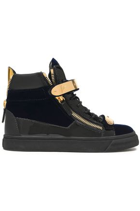 GIUSEPPE ZANOTTI Smooth and patent leather-trimmed velvet high-top sneakers 90ce42cb5e1