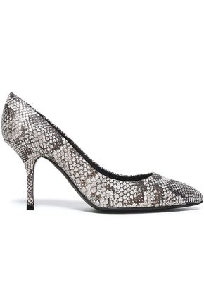 GIUSEPPE ZANOTTI Dirty snake-effect leather pumps