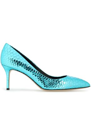 GIUSEPPE ZANOTTI Metallic snake-effect leather pumps