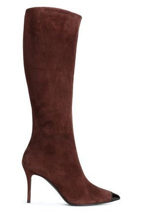 GIUSEPPE ZANOTTI Lucrezia patent leather-trimmed suede boots