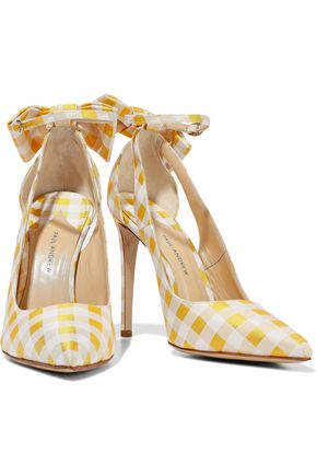 PAUL ANDREW Fiona bow-embellished gingham canvas pumps