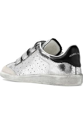 a90b15aac7 Beth suede-paneled metallic cracked-leather sneakers   ISABEL MARANT ...