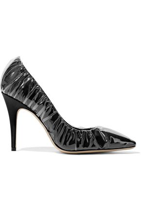 JIMMY CHOO + Off-White Anne layered PVC and satin pumps