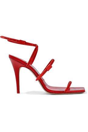 JIMMY CHOO + Off-White Jane 100 rubber-trimmed leather sandals