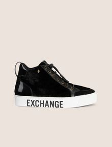 ARMANI EXCHANGE VELVET AND PATENT FINISH HIGH-TOP SNEAKER Sneaker Woman f