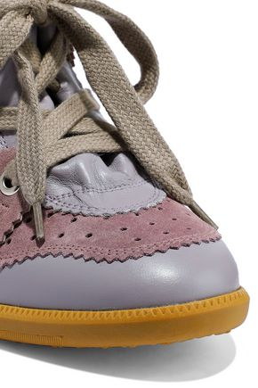 ISABEL MARANT Betty leather and suede wedge sneakers