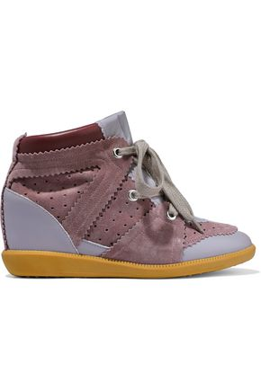 ISABEL MARANT ÉTOILE Betty leather and suede wedge sneakers