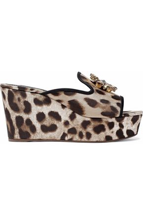 DOLCE & GABBANA Crystal-embellished leopard-print twill wedge mules