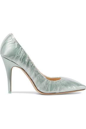 JIMMY CHOO Gathered PVC and satin pumps