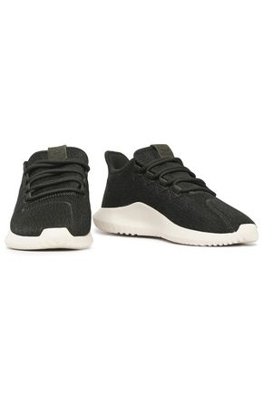 ADIDAS ORIGINALS Leather-trimmed stretch-knit sneakers