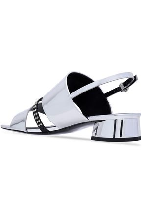 3.1 PHILLIP LIM Drum studded mirrored-leather slingback sandals