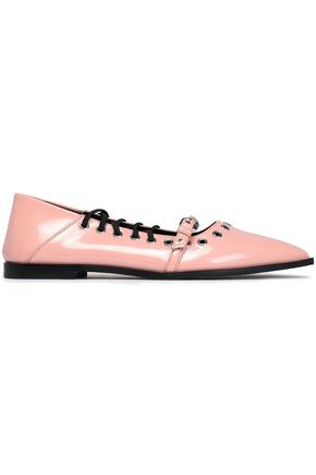 McQ Alexander McQueen Eyelet-embellished faux patent-leather point-toe flats