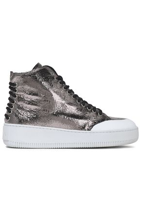 McQ Alexander McQueen Metallic cracked-leather high-top sneakers