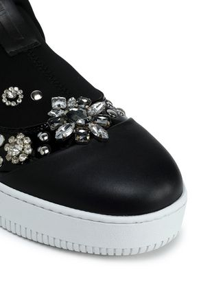 McQ Alexander McQueen Embellished patent leather-trimmed neoprene slip-on sneakers