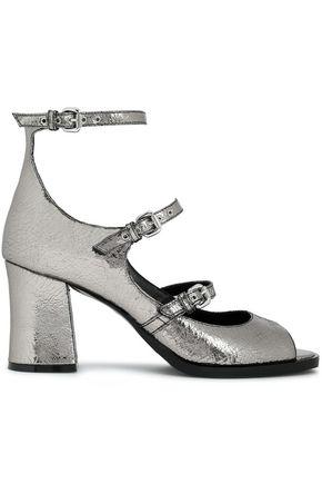 McQ Alexander McQueen Metallic cracked-leather sandals