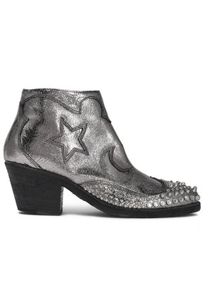 McQ Alexander McQueen Embellished metallic cracked-leather ankle boots