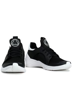 McQ Alexander McQueen Leather-trimmed stretch-knit sneakers