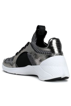 McQ Alexander McQueen Metallic cracked leather-trimmed stretch-knit sneakers