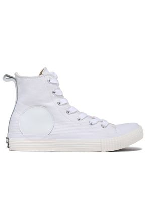 McQ Alexander McQueen Leather-trimmed canvas high-top sneakers