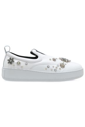McQ Alexander McQueen Embellished leather slip-on sneakers