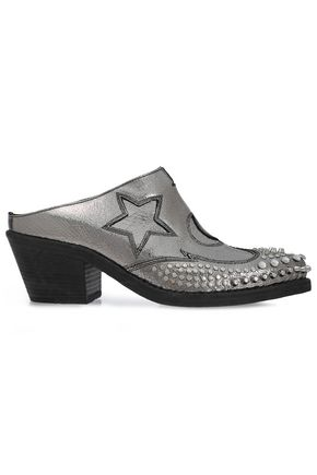McQ Alexander McQueen Embellished metallic cracked-leather mules