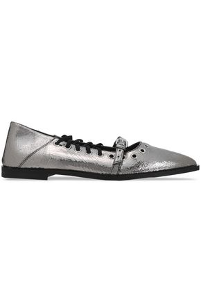 McQ Alexander McQueen Embellished metallic cracked-leather point-toe flats