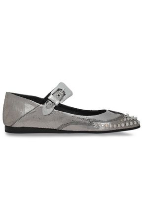 McQ Alexander McQueen Studded metallic cracked-leather point-toe flats