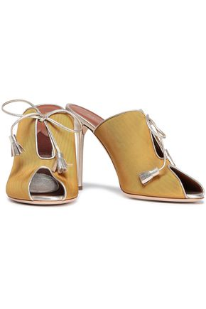 MALONE SOULIERS Dawn metallic leather-trimmed faille mules