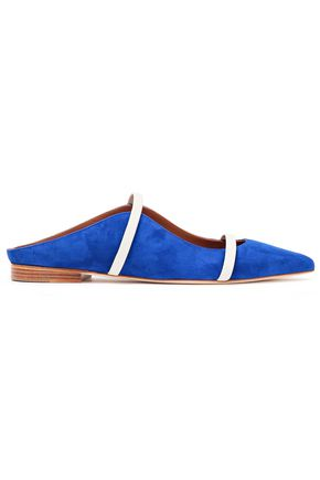Maureen Leather Trimmed Suede Point Toe Flats by Malone Souliers