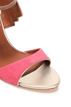 MALONE SOULIERS Careen metallic leather-trimmed two-tone suede sandals