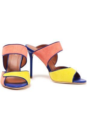 d466a7727c1d MALONE SOULIERS Leather-trimmed color-block suede sandals