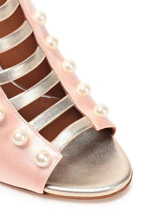 MALONE SOULIERS Zada metallic leather-trimmed faux pearl-embellished satin mules