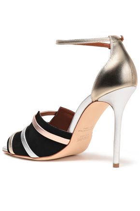 MALONE SOULIERS Zola metallic leather and suede sandals