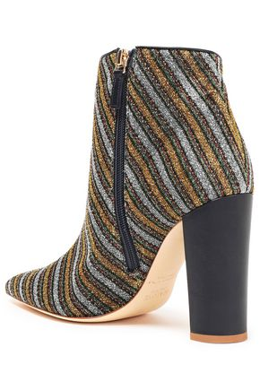 MALONE SOULIERS Lada faux pearl-embellished striped metallic knitted ankle boots