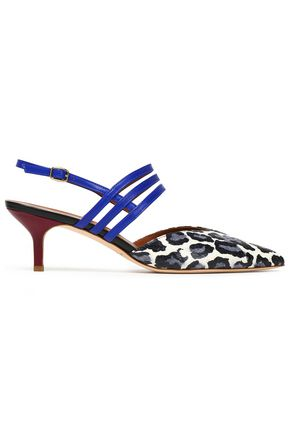 MALONE SOULIERS Printed elaphe and leather pumps