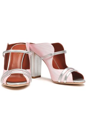 MALONE SOULIERS Metallic leather-trimmed moiré mules