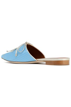 MALONE SOULIERS Vilvin metallic leather-trimmed moire slippers