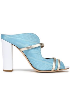 MALONE SOULIERS Maureen metallic leather-trimmed moire sandals