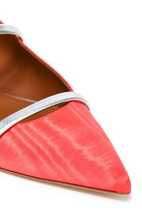 MALONE SOULIERS Maureen metallic leather-trimmed moiré point-toe flats