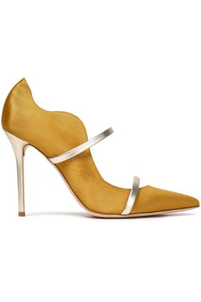 MALONE SOULIERS Maureen metallic leather-trimmed faille pumps