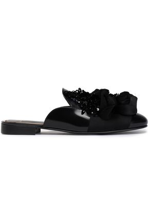 LANVIN Embellished leather slippers