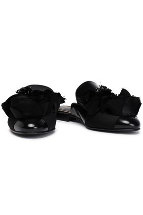 LANVIN Embellished leather slippers