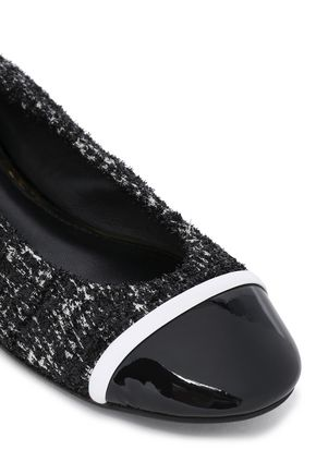 LANVIN Patent leather-paneled metallic tweed ballet flats